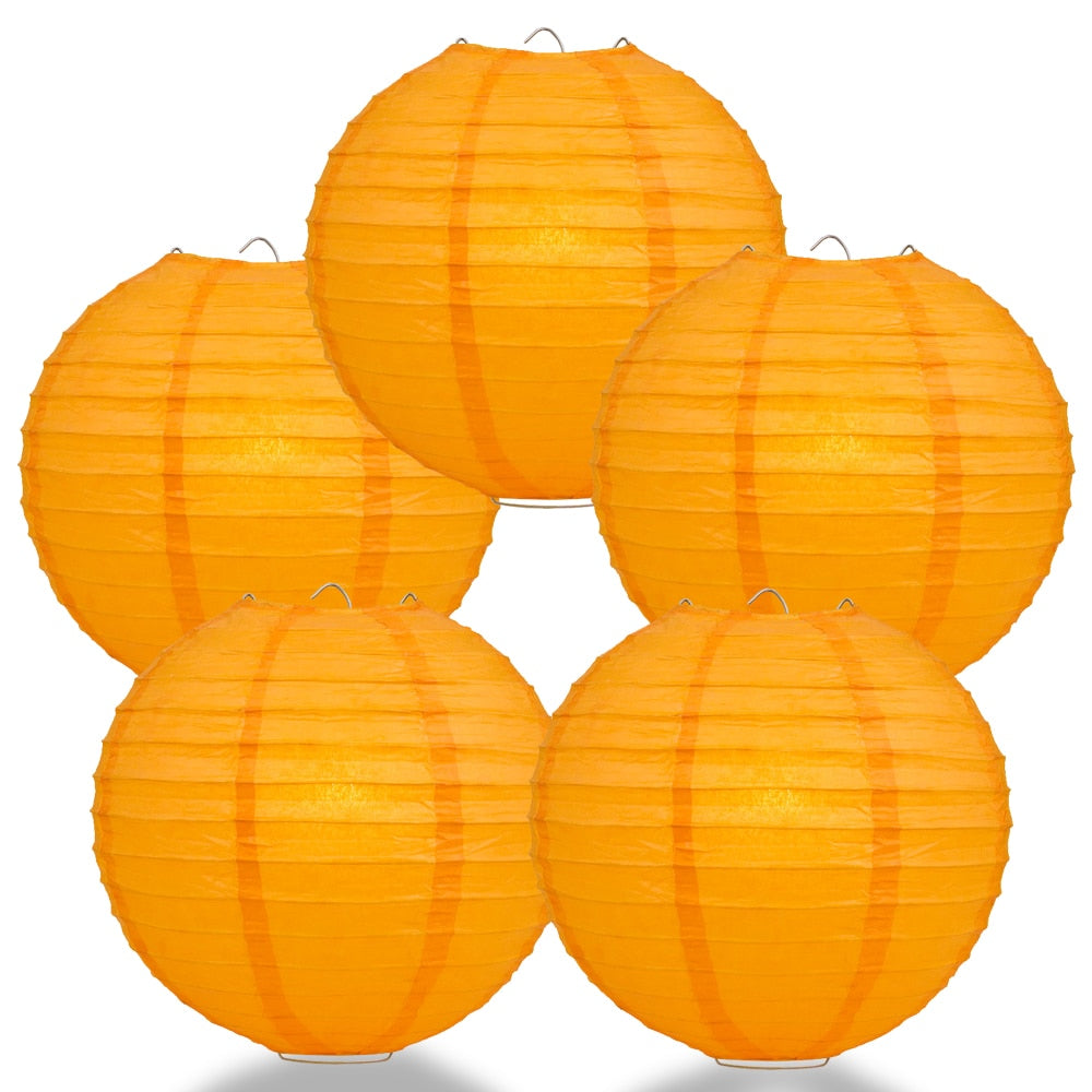 "5-Pack 8"" Orange Parallel Ribbing Round Paper Lantern - Luna Bazaar 
