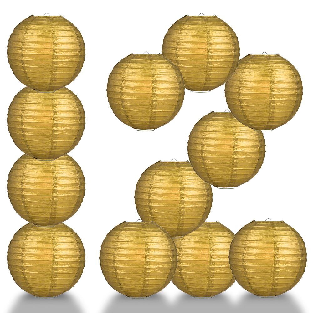 "12-Pack 24"" Gold Parallel Ribbing Round Paper Lantern - Luna Bazaar - Discover. Decorate. Celebrate"