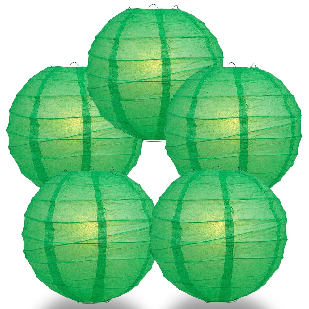 "5-Pack 24"" Emerald Green Free-Style Ribbing Round Paper Lantern - Luna Bazaar 