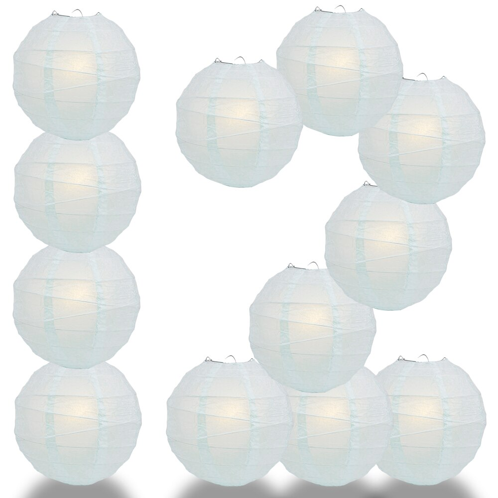 "12-Pack 24"" Arctic Spa Blue Free-Style Ribbing Round Paper Lantern - Luna Bazaar 