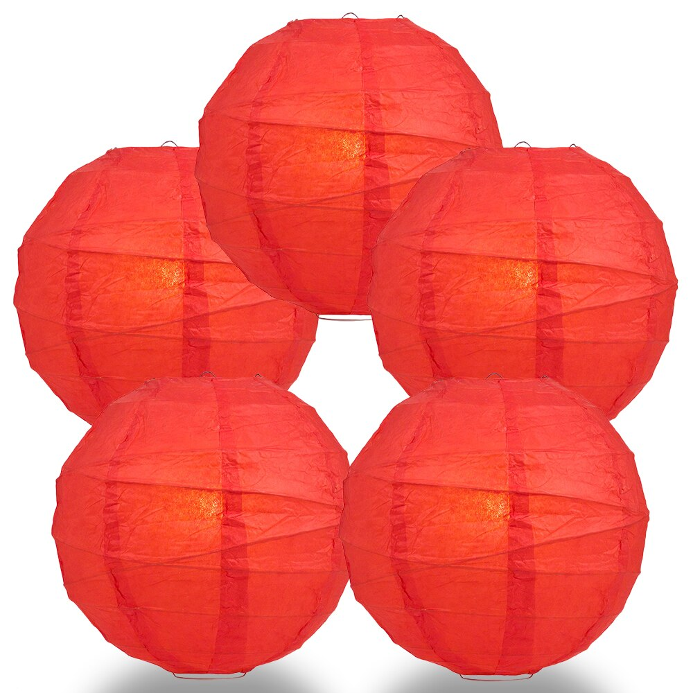 "5-Pack 14"" Red Free-Style Ribbing Round Paper Lantern - Luna Bazaar 