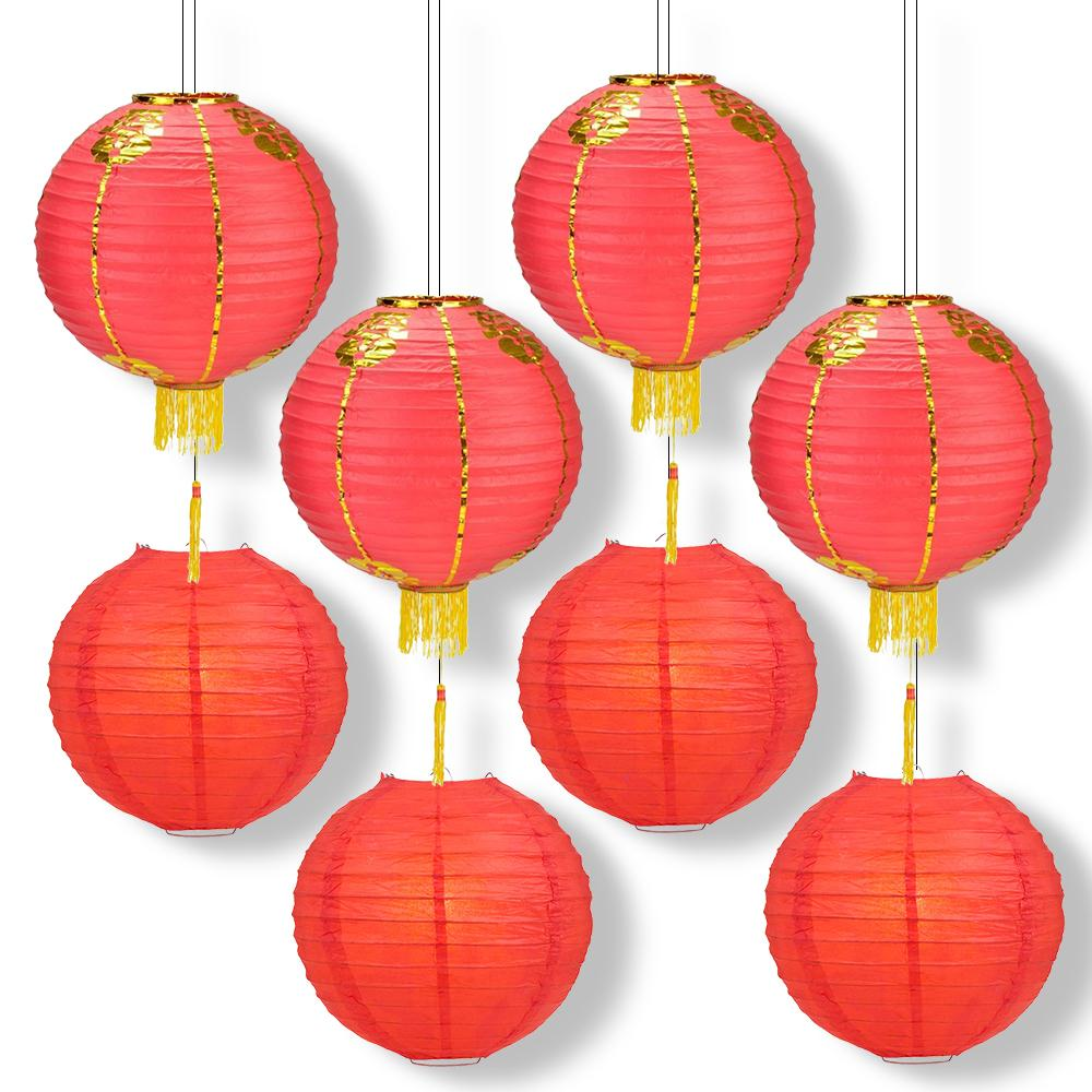 8 PACK Red Chinese New Year Parallel Ribbing Round Paper Lantern, Hanging Combo Set - Luna Bazaar | Boho & Vintage Style Decor