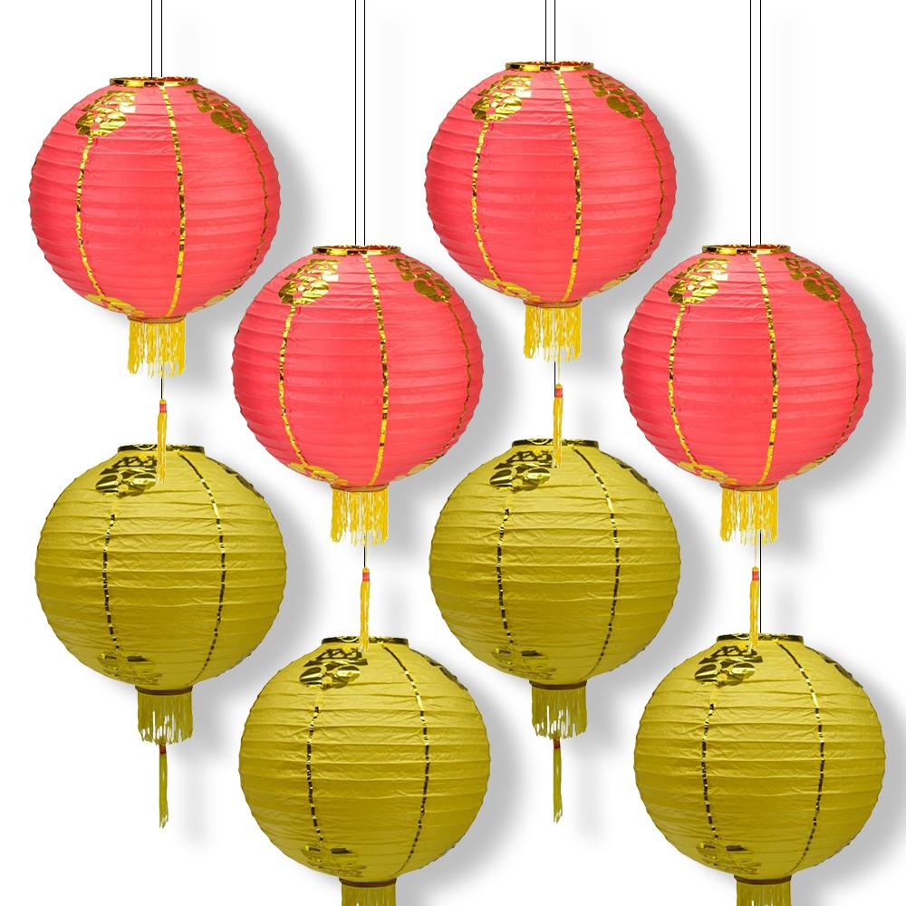 8 PACK Red Yellow Traditional Chinese New Year Parallel Ribbing Round Paper Lantern, Hanging Combo Set - Luna Bazaar | Boho & Vintage Style Decor