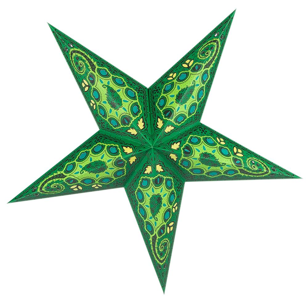 "24"" Green Tulip Cut Paper Star Lantern, Chinese Hanging Wedding & Party Decoration - Luna Bazaar 
