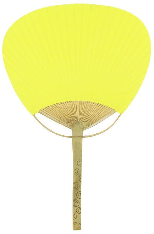 "9"" Yellow Paddle Paper Hand Fans for Weddings (10 Pack) - Luna Bazaar 