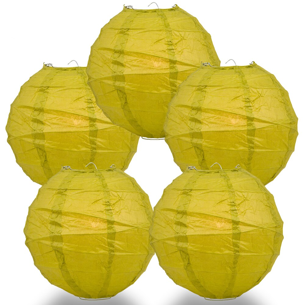 "5-Pack 6"" Chartreuse Free-Style Ribbing Round Paper Lantern - Luna Bazaar 