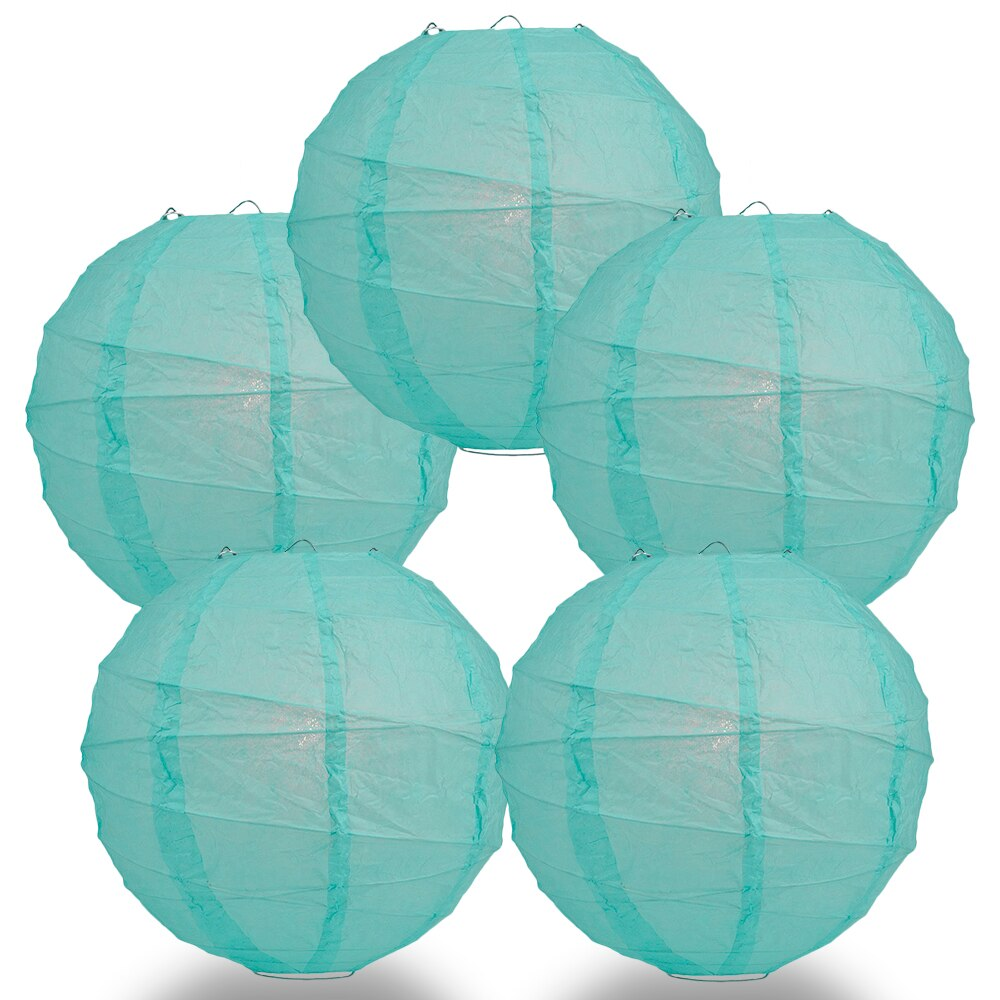 "5-Pack 24"" Water Blue Free-Style Ribbing Round Paper Lantern - Luna Bazaar 