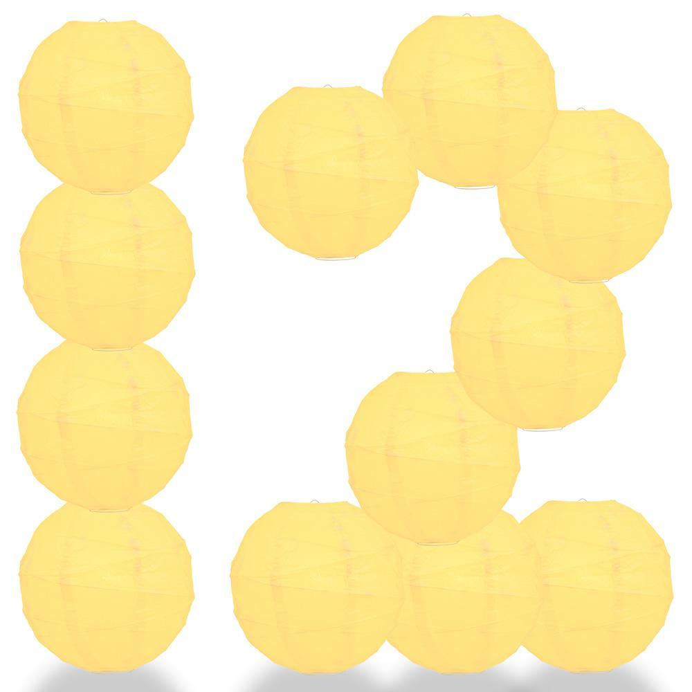 "12-Pack 16"" Lemon Yellow Chiffon Free-Style Ribbing Round Paper Lantern - Luna Bazaar - Discover. Decorate. Celebrate"