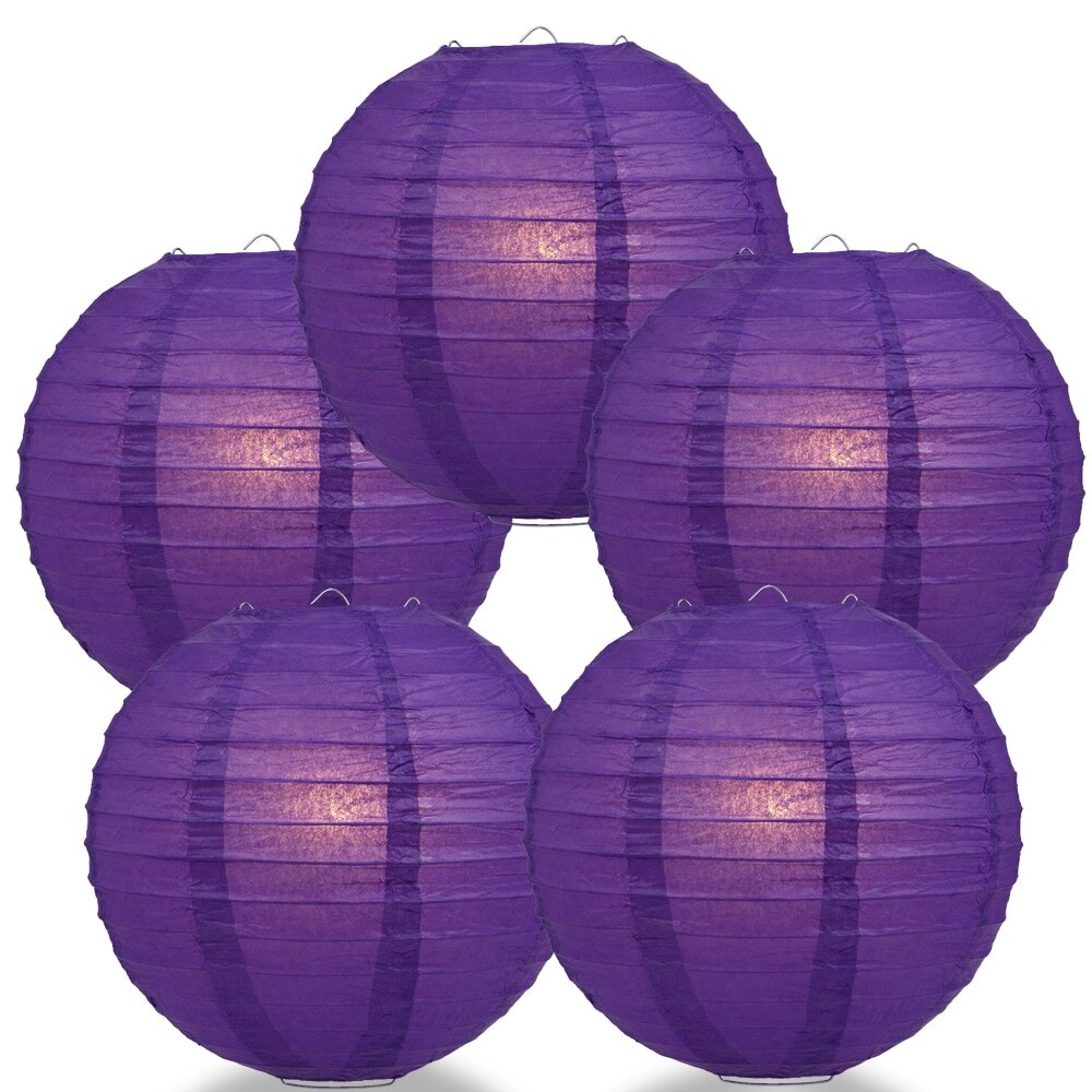 "5-Pack 8"" Royal Purple Parallel Ribbing Round Paper Lantern - Luna Bazaar 