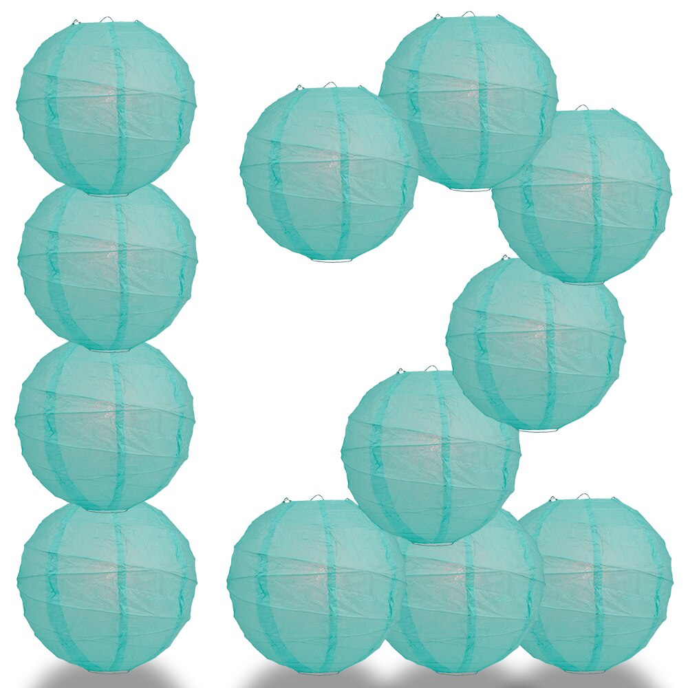 "12-Pack 24"" Water Blue Free-Style Ribbing Round Paper Lantern - Luna Bazaar 