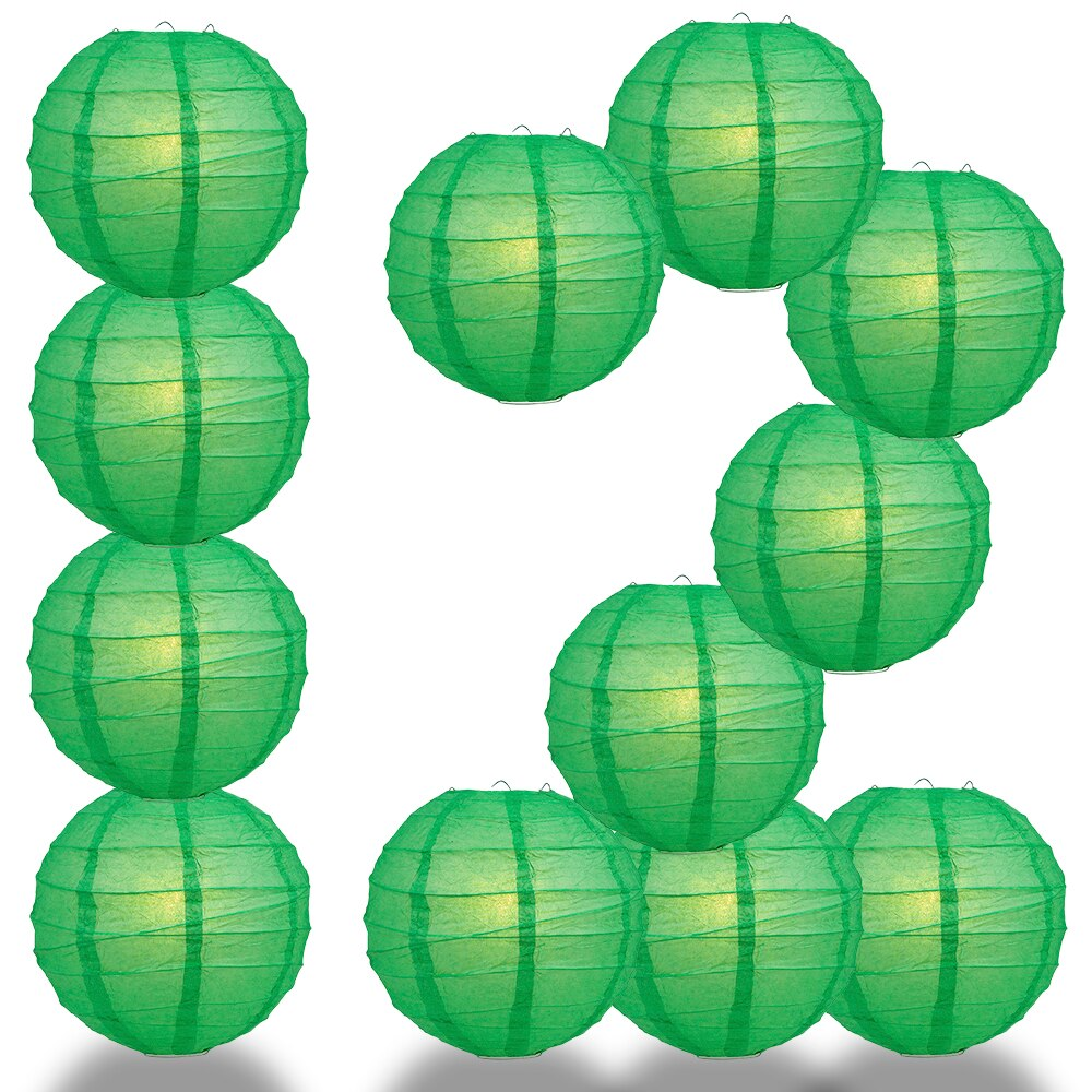 "12-Pack 6"" Emerald Green Free-Style Ribbing Round Paper Lantern - Luna Bazaar - Discover. Decorate. Celebrate"