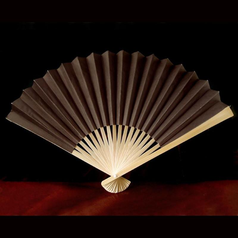 "CLOSEOUT 9"" Brown Chinese Folding Paper Hand Fans w/ White Organza Bag for Weddings (10 PACK) - Luna Bazaar - Discover. Decorate. Celebrate"