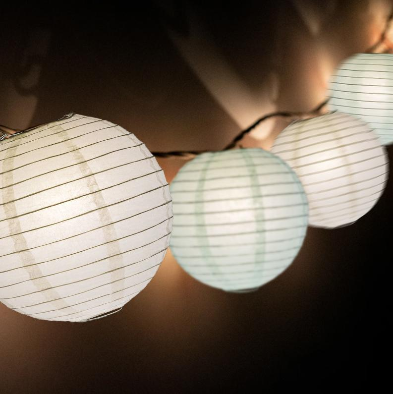 "16-FT, 20x Paper Lantern Party String Lights Set (4"" Arctic Spa Blue and White Lanterns) - Luna Bazaar 
