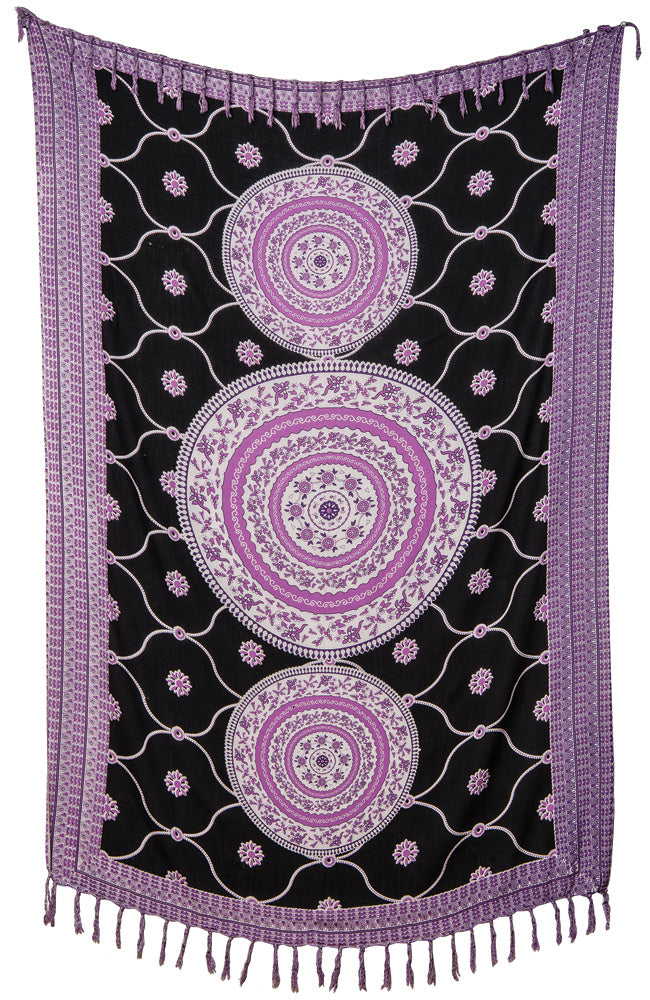 CLOSEOUT Gita Medallion Mandala Tapestry - (Small, 37 X 65 Inches, 100% Cotton, Fair Trade Certified) - Luna Bazaar - Discover. Decorate. Celebrate