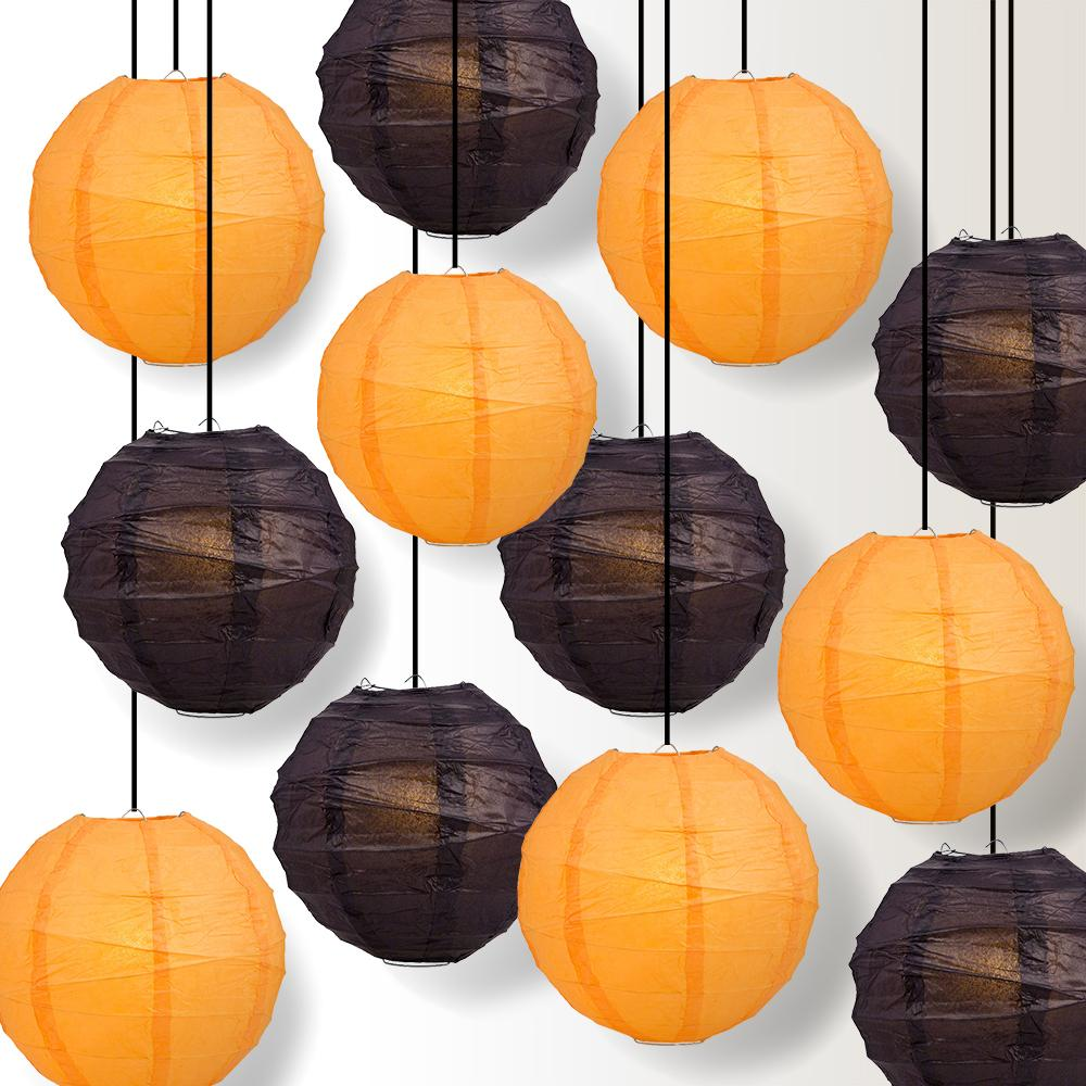 Halloween 12-Piece Black / Orange Free-Style Paper Lantern Party Pack Set, Assorted Hanging Decoration - Luna Bazaar | Boho & Vintage Style Decor