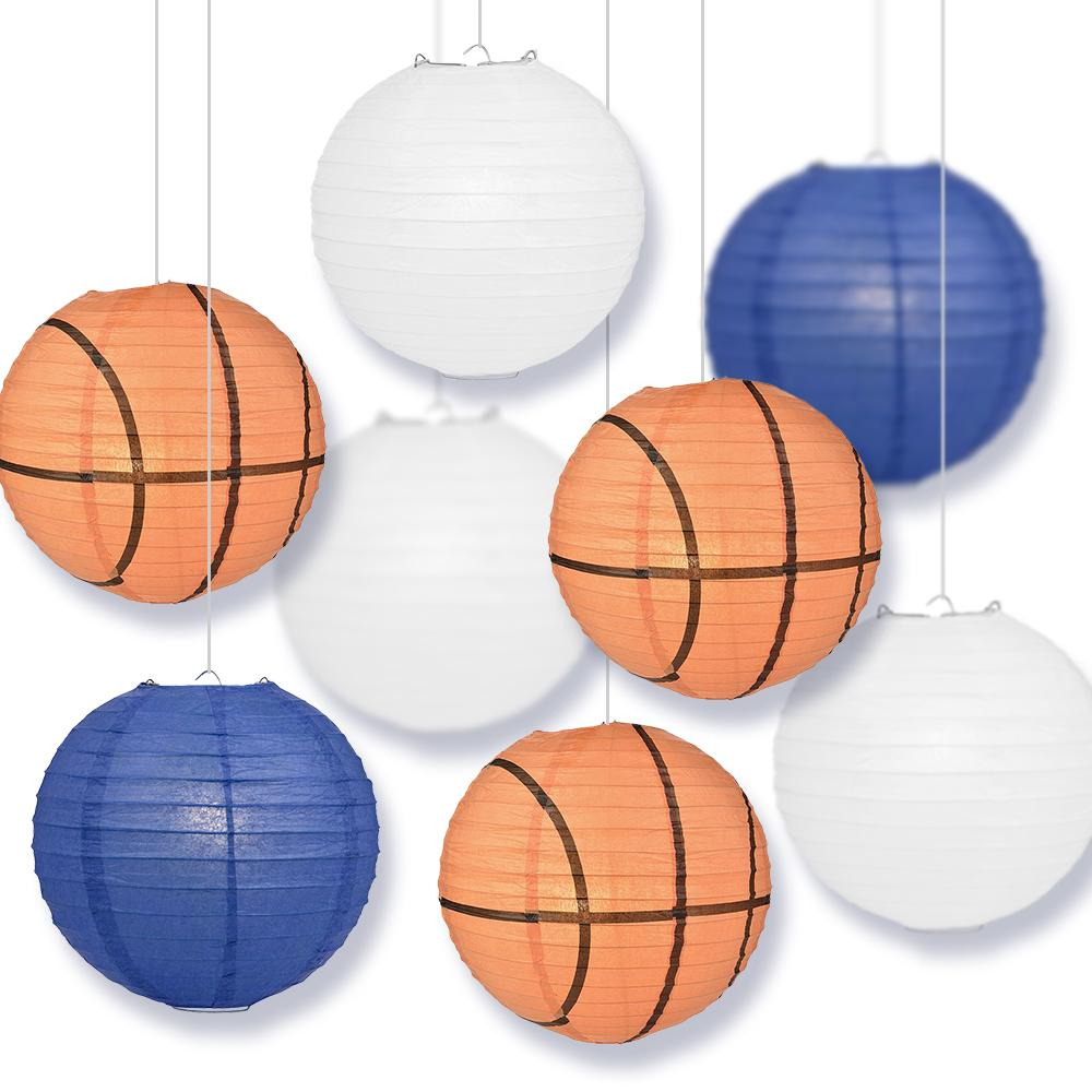 Indianapolis College Basketball Dark Blue, White 14-inch Paper Lanterns 8pc Combo Party Pack - Luna Bazaar | Boho & Vintage Style Decor