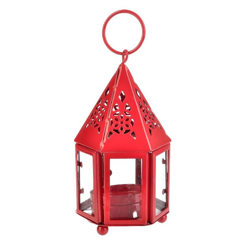 "CLOSEOUT 4.75"" Red Hampi Hurricane Candle Lantern - Luna Bazaar - Discover. Decorate. Celebrate"