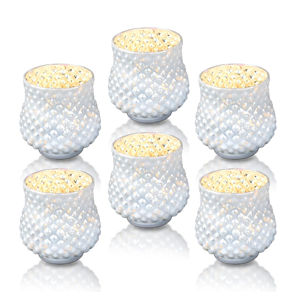 6-Pack Vintage Mercury Glass Vase and Candle Holder (3-Inch, Small Ruby, Pearl White) - For Use with Tea Lights - For Home Decor, Parties and Wedding Decorations - Luna Bazaar | Boho & Vintage Style Decor
