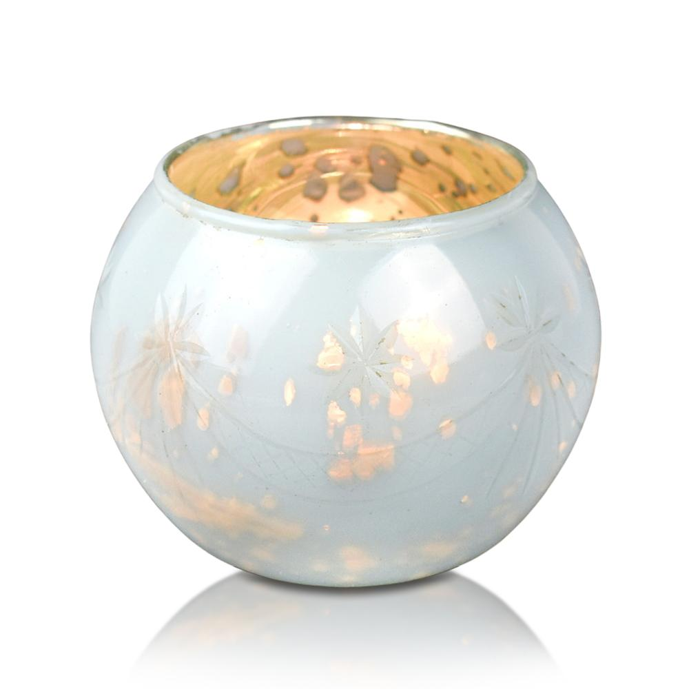 4 Pack | Mary Mercury Glass Globe Candle Holder - Pearl White For Use with Tea Lights - For Home Decor, Parties and Wedding Decorations - Mercury Glass Votive Holders - Luna Bazaar | Boho & Vintage Style Decor