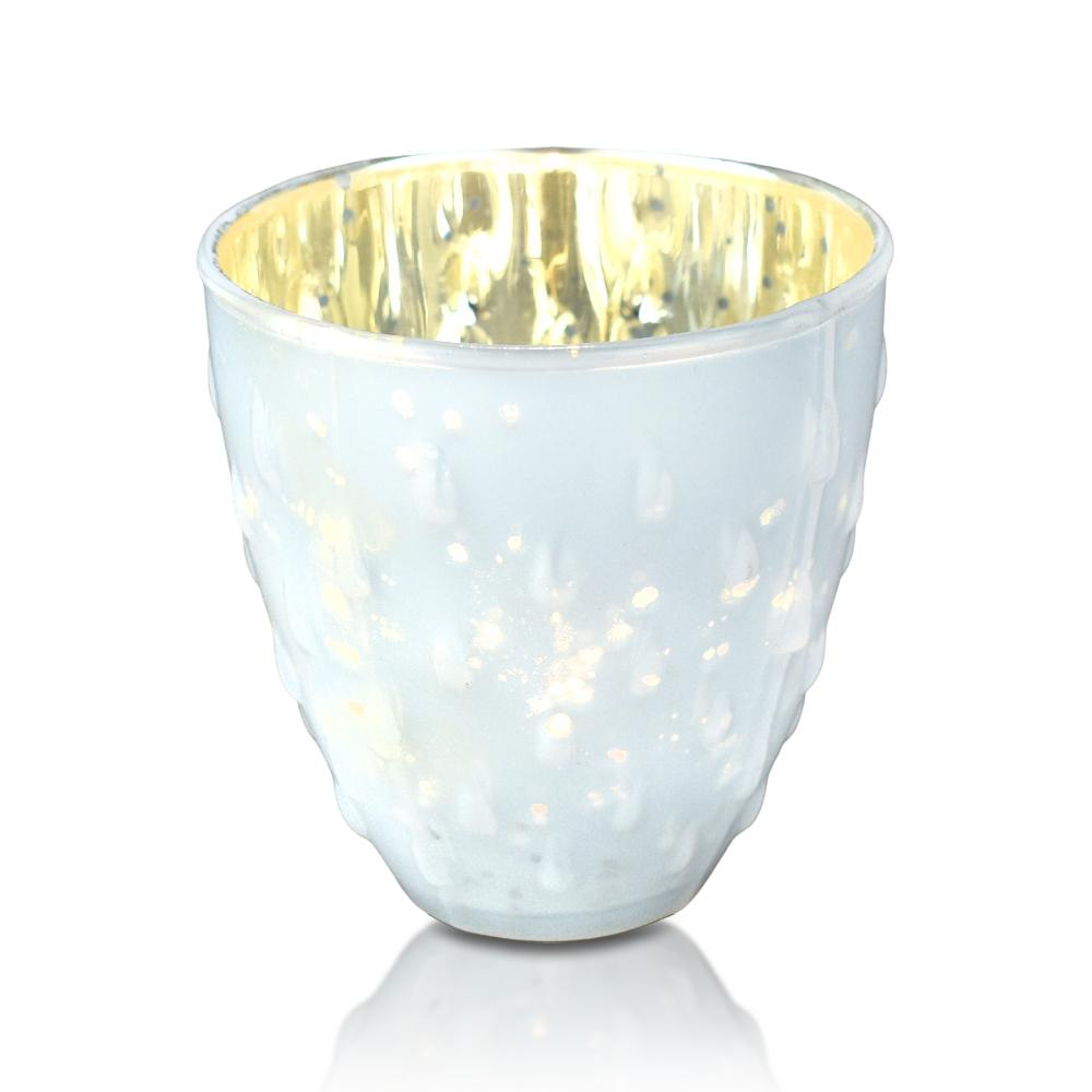 Vintage Mercury Glass Candle Holder (3.25-Inch, Small Deborah Design, Pearl White) - For Use with Tea Lights - Home Decor, Parties and Wedding Decorations - Luna Bazaar | Boho & Vintage Style Decor
