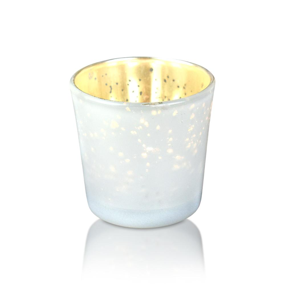 6 Pack | Lila Mercury Glass Candle Holder - Pearl White For Use with Tea Lights - Home Decor, Parties and Wedding Decorations - Mercury Glass Votive Holders - Luna Bazaar | Boho & Vintage Style Decor