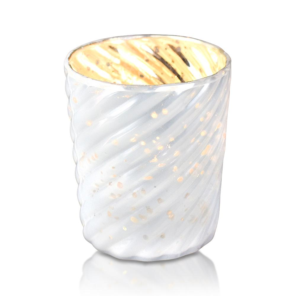 6 Pack | Mercury Glass Candle Holder (3-Inch, Grace Design, Pearl White) - for use with Tea Lights - for Home Decor, Parties and Wedding Decorations - Luna Bazaar | Boho & Vintage Style Decor