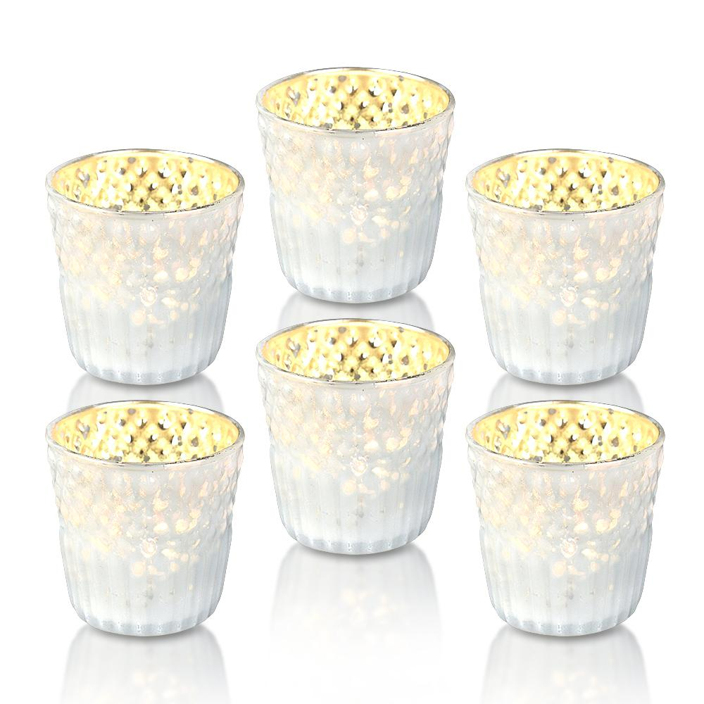 6 Pack | Ophelia Mercury Glass Tealight Holder - Pearl White For Use with Tea Lights - For Home Decor, Parties and Wedding Decorations - Luna Bazaar | Boho & Vintage Style Decor