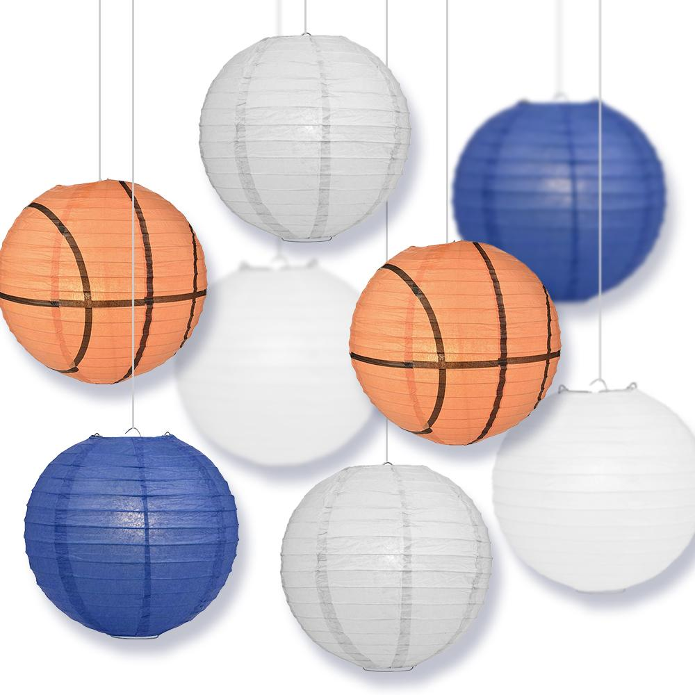 Iowa College Basketball Dark Blue, Grey, White Bsketball 14-inch Paper Lanterns 8pc Combo Party Pack - Luna Bazaar | Boho & Vintage Style Decor