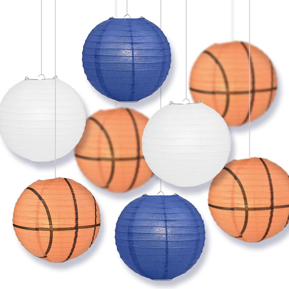 North Carolina College Basketball Dark Blue, White 14-inch Paper Lanterns 8pc Combo Party Pack - Luna Bazaar | Boho & Vintage Style Decor