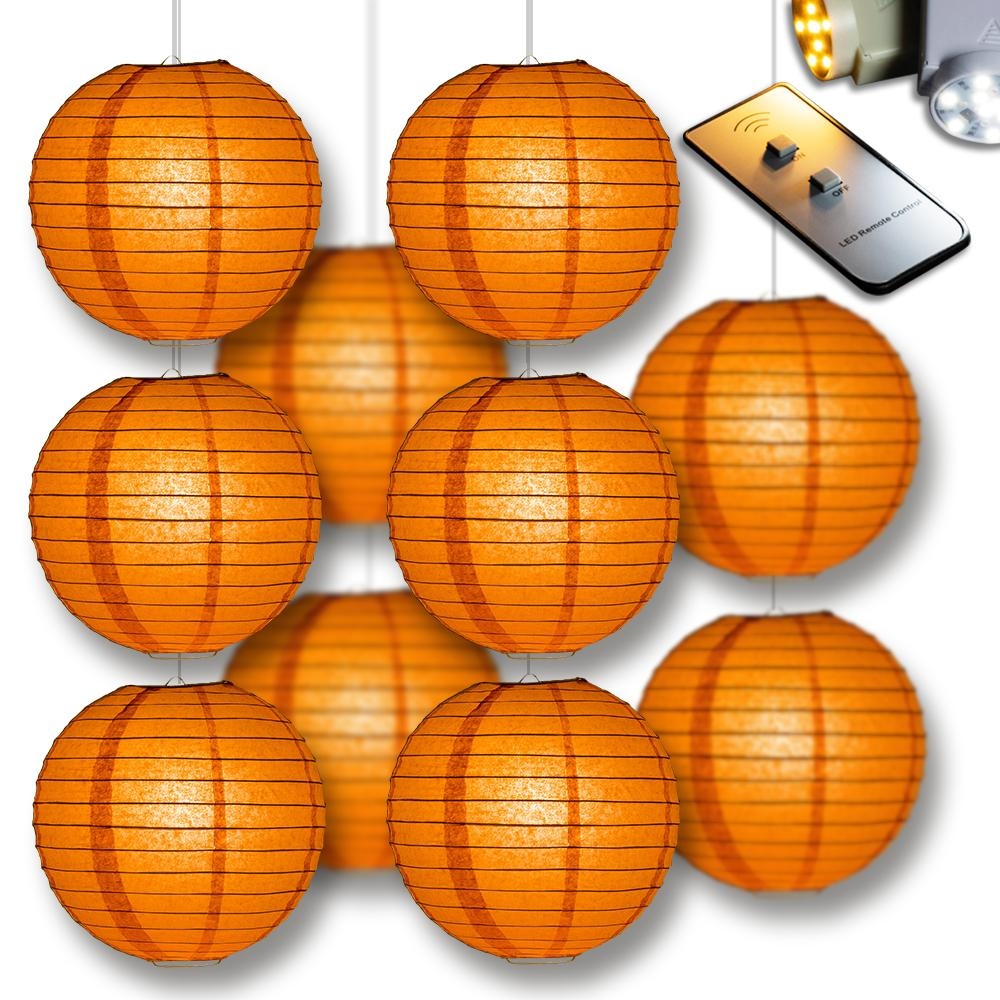 MoonBright Persimmon Orange Paper Lantern 10pc Party Pack with Remote Controlled LED Lights Included - Luna Bazaar | Boho & Vintage Style Decor