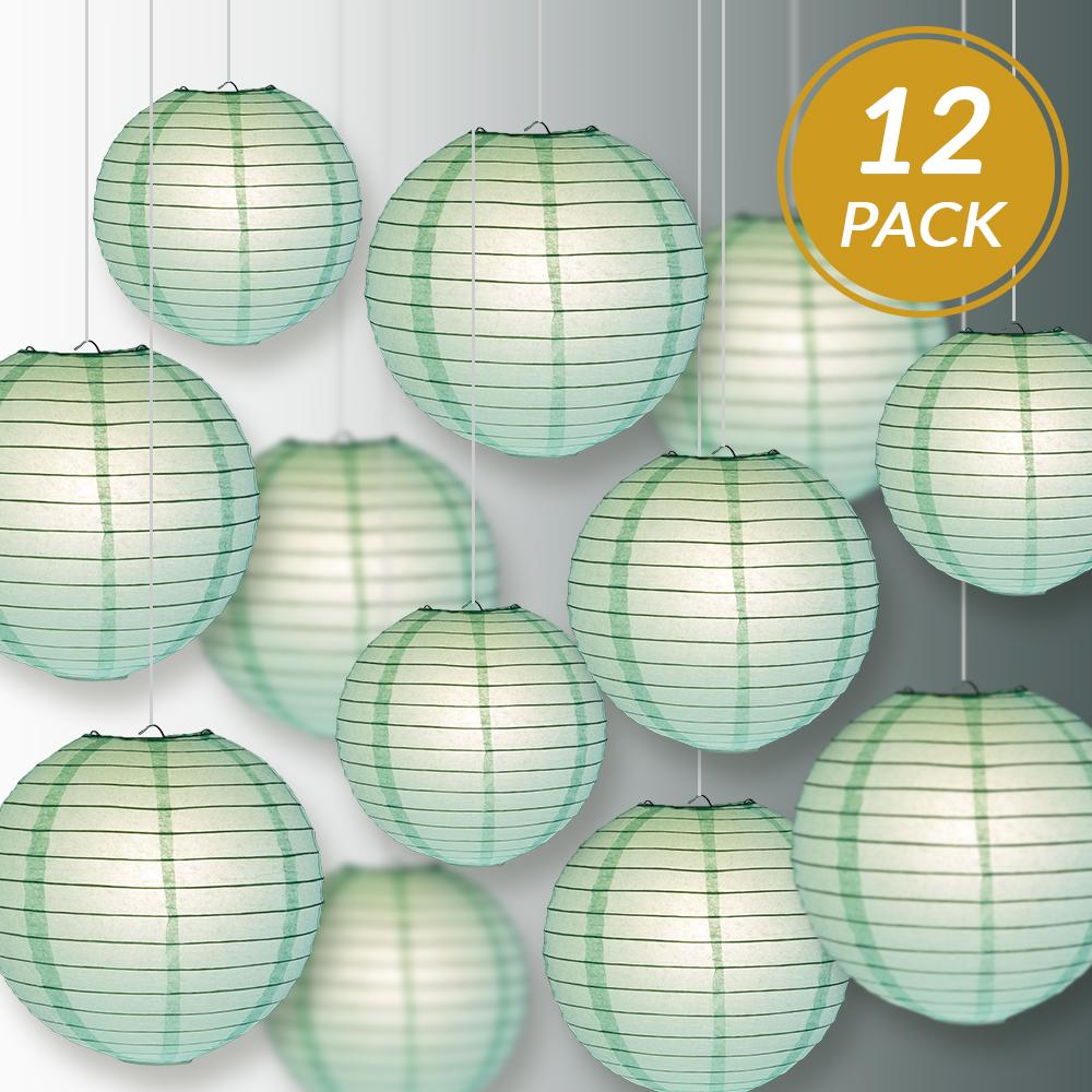 12-PC Cool Mint Green Paper Lantern Decoration Set, 12/10/8-Inch - Luna Bazaar | Boho & Vintage Style Decor