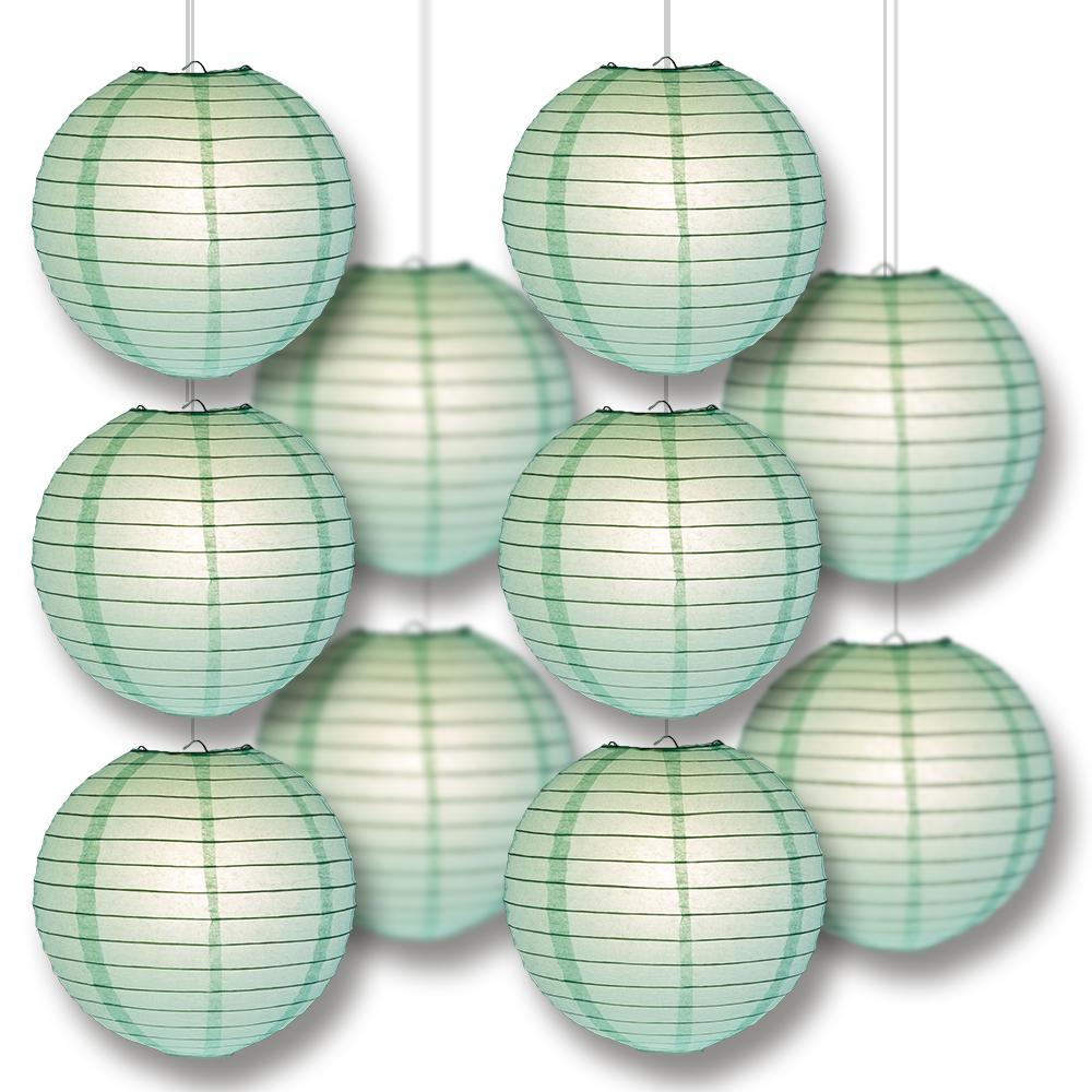 MoonBright Cool Mint Green Paper Lantern 10pc Party Pack with Remote Controlled LED Lights Included - Luna Bazaar | Boho & Vintage Style Decor