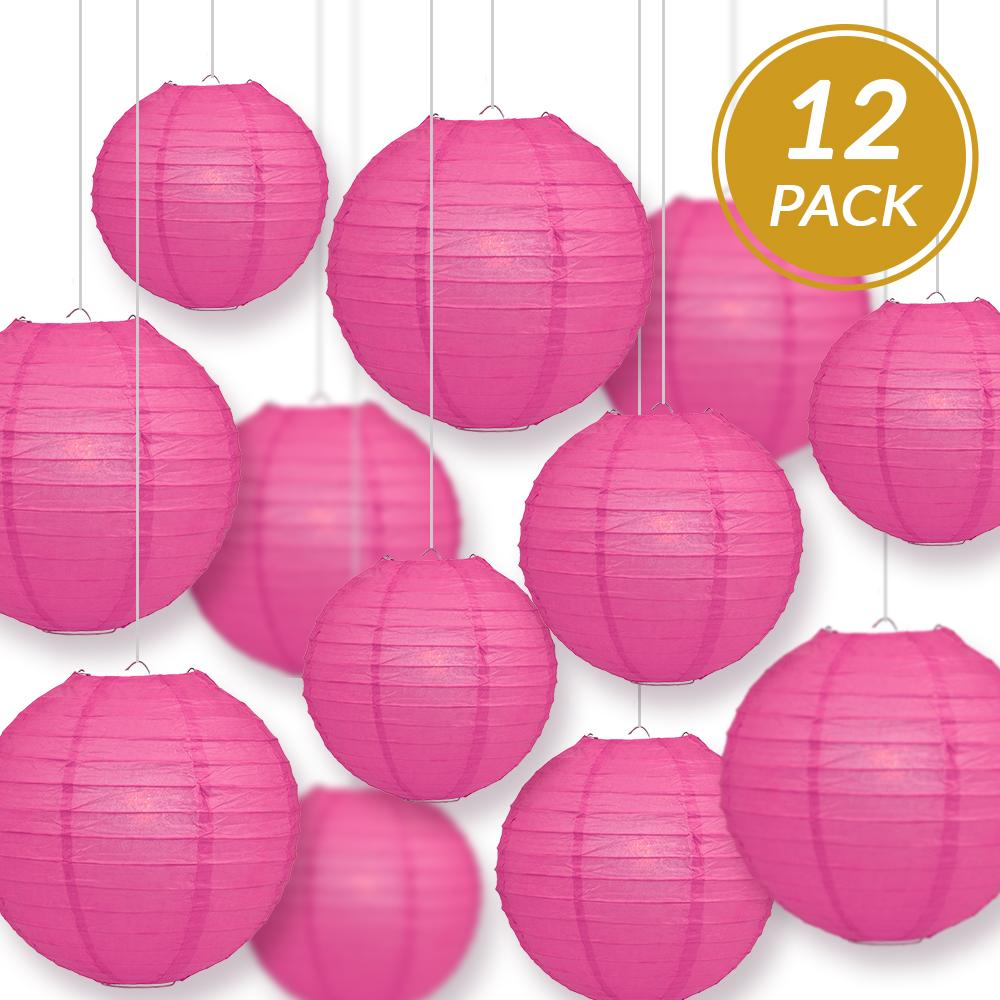 12-PC Fuchsia / Hot Pink Paper Lantern Decoration Set, 12/10/8-Inch - Luna Bazaar | Boho & Vintage Style Decor