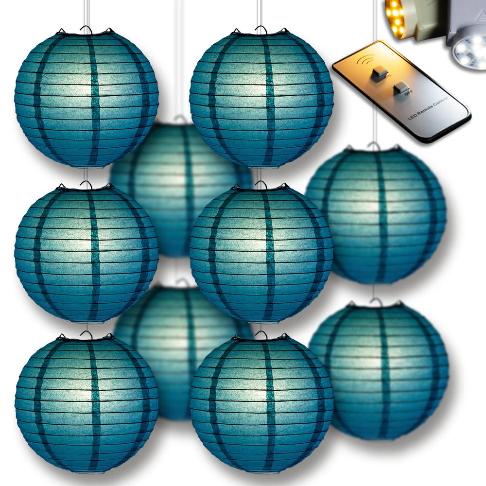 MoonBright Tahiti Teal Paper Lantern 10pc Party Pack with Remote Controlled LED Lights Included - Luna Bazaar | Boho & Vintage Style Decor