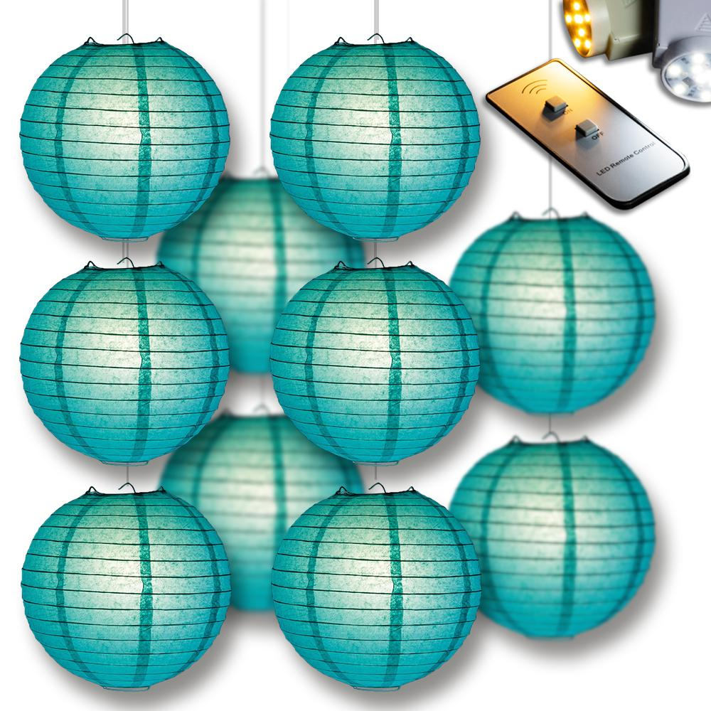 MoonBright Teal Green Paper Lantern 10pc Party Pack with Remote Controlled LED Lights Included - Luna Bazaar | Boho & Vintage Style Decor