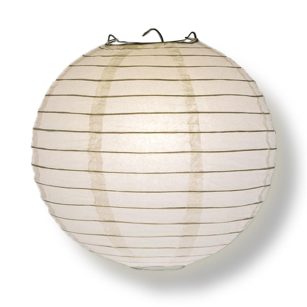 "6-Pack 8"" White Parallel Ribbing Round Paper Lanterns - Luna Bazaar 
