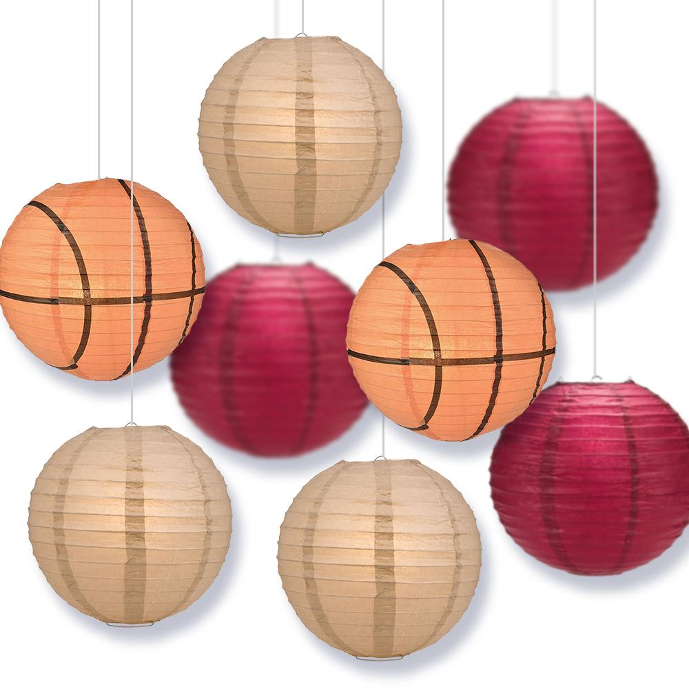 Flordia College Basketball Velvet Red, Latte 14-inch Paper Lanterns 8pc Combo Party Pack - Luna Bazaar | Boho & Vintage Style Decor