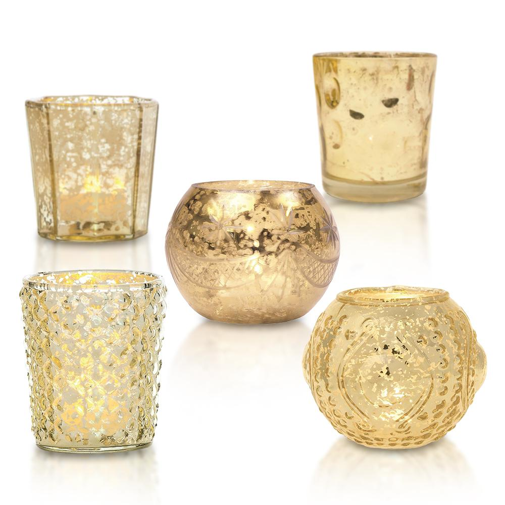 Shabby Chic Gold Mercury Glass Tea Light Votive Candle Holders (Set of 5, Assorted Designs and Sizes) - Luna Bazaar | Boho & Vintage Style Decor