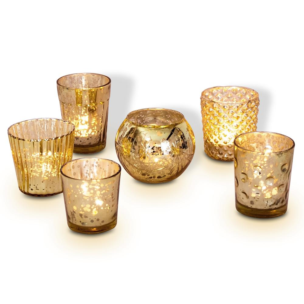 Best of Show Vintage Mercury Glass Votive Tea Light Candle Holders - Gold (6 PACK, Assorted Designs) - Luna Bazaar | Boho & Vintage Style Decor