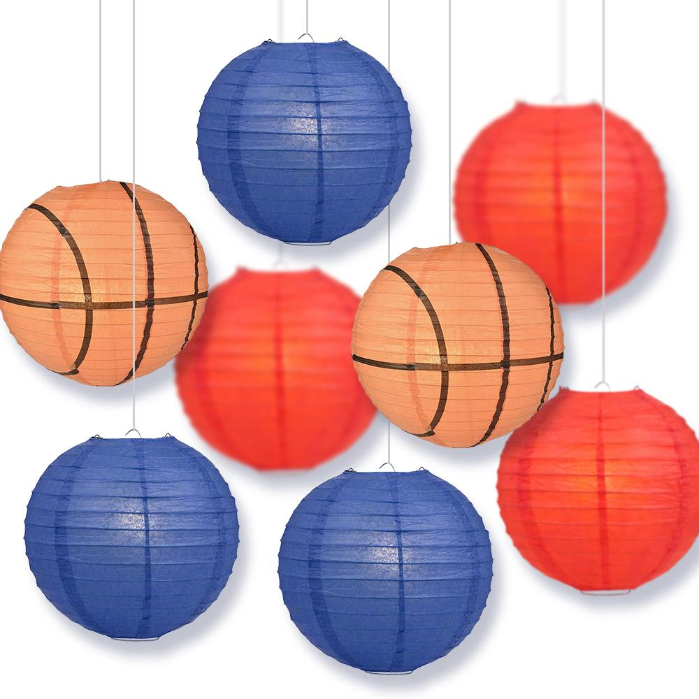 Kansas College Basketball Red, Dark Blue 14-inch Paper Lanterns 8pc Combo Party Pack - Luna Bazaar | Boho & Vintage Style Decor