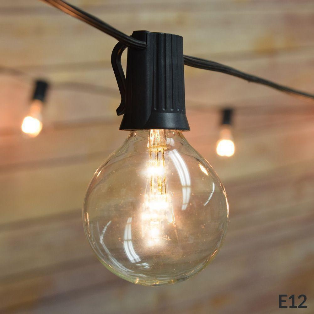 102 FT Shatterproof Light Bulb LED Outdoor Patio String Light Set, 100 Socket E12 C7 Base, Black Cord - Luna Bazaar - Discover. Decorate. Celebrate