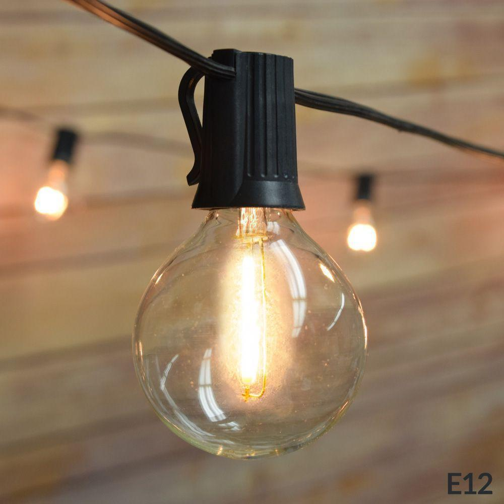 21 FT Shatterproof Light Bulb LED Outdoor Patio String Light Set, 10 Socket E12 C7 Base, Black Cord - Luna Bazaar | Boho & Vintage Style Decor
