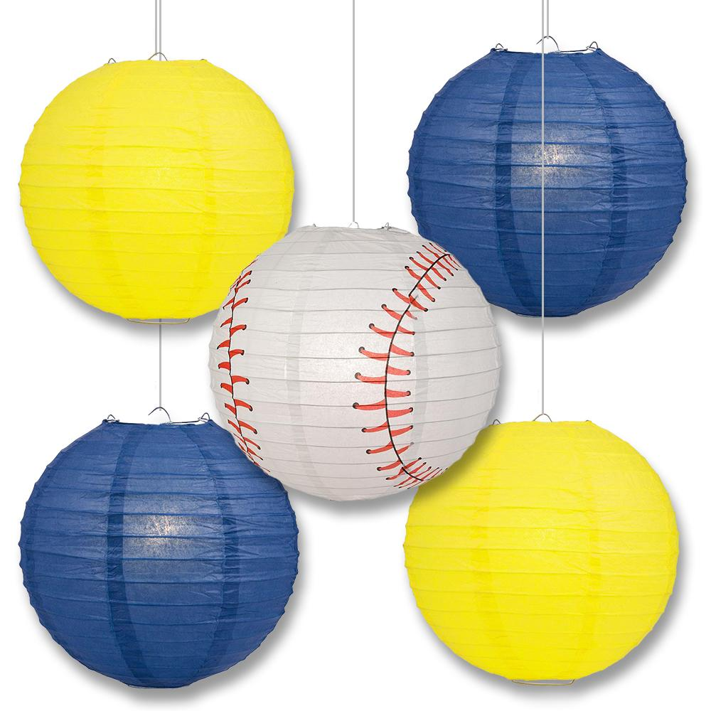 Milwaukee Pro Baseball Navy Blue & Yellow 14-inch Paper Lanterns 5pc Combo Party Pack - Luna Bazaar | Boho & Vintage Style Decor