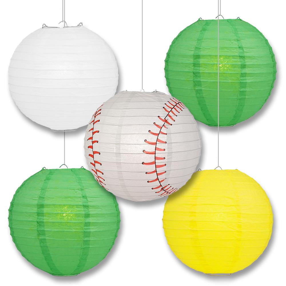 Oakland Pro Baseball Green, Yellow & White 14-inch Paper Lanterns 5pc Combo Party Pack - Luna Bazaar | Boho & Vintage Style Decor