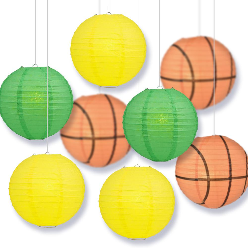 Oregon College Basketball Dark Green, Yellow 14-inch Paper Lanterns 8pc Combo Party Pack - Luna Bazaar | Boho & Vintage Style Decor