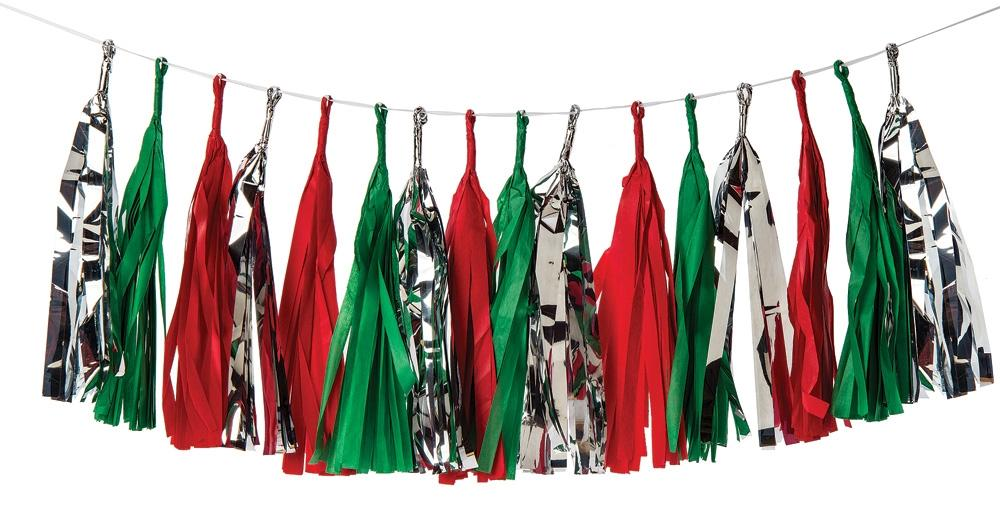 CLOSEOUT Tissue Paper Tassel Garland Set - Tis The Season - Set of 16 - Luna Bazaar - Discover. Decorate. Celebrate