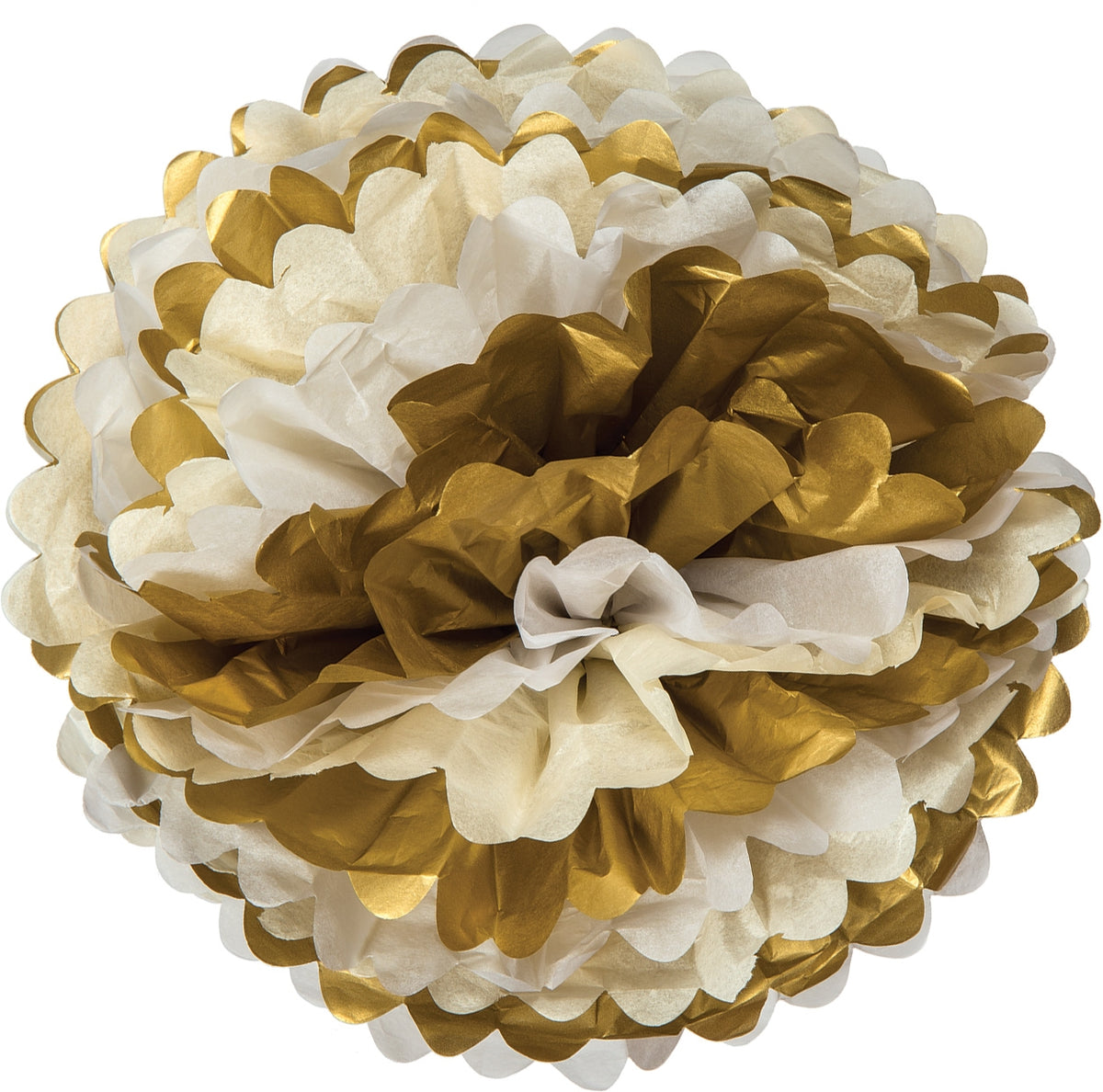 Mixed Whites with Gold Tissue Paper Flower Pom Pom 15 inch - Luna Bazaar | Boho & Vintage Style Decor