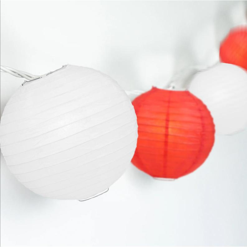 "16-FT, 20x Paper Lantern Party String Lights Set (4"" Red and White Lanterns) - Luna Bazaar 