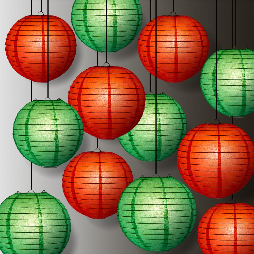 Red and Green Holiday Party Pack Parallel Ribbed Paper Lantern Combo Set (12 pc Set) - Luna Bazaar | Boho & Vintage Style Decor