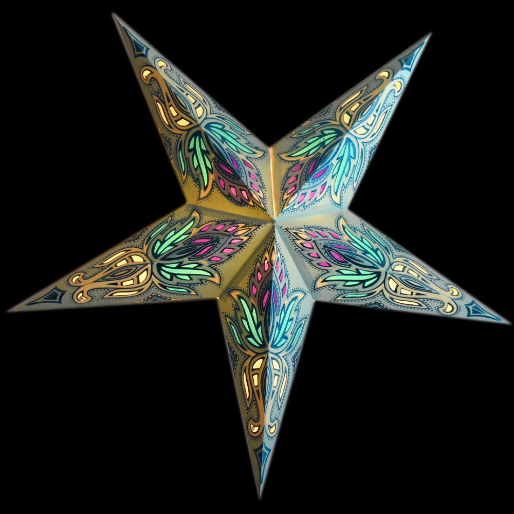 "CLOSEOUT 24"" Pale Turquoise Blue Lotus Glitter Paper Star Lantern, Hanging - Luna Bazaar - Discover. Decorate. Celebrate"